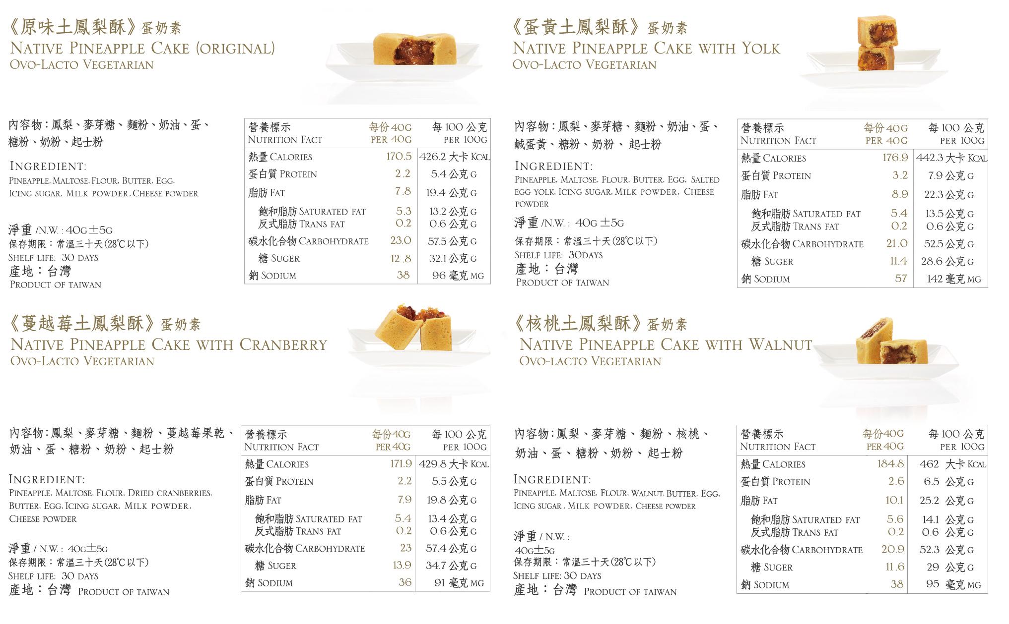綜合鳳梨酥食品標